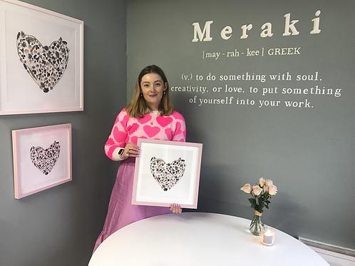 Pink Frame Happy Heart Fine Art Print 12 X 12