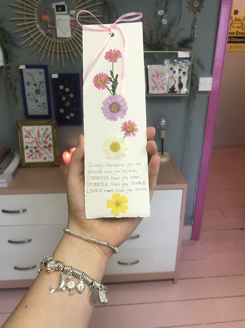 Pressed Flower Bookmark withQuote
