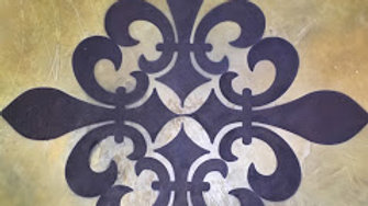 Sandblasted and stenciled designs, etched logos etc