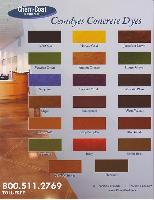 CMD's interior concrete dye color chart