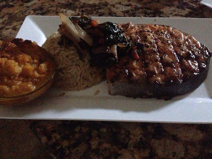 Grilled Bourbon Salmon steaks