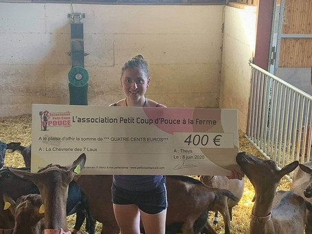Un petit coup de pouce a été donné  par l'association PCPF pour La chèvrerie des 7 Laux.