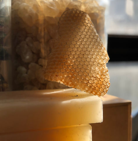 Natural honeycomb wax and refined beeswax cakes.