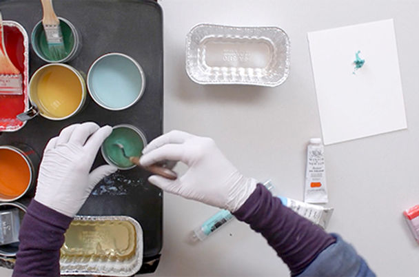 Making encaustic paint with oils