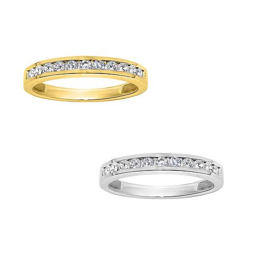 14k Yellow or White Gold 1/3ct TGW Round-cut Diamonette Channel-Set Wedding Band