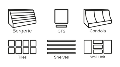 multiple furniture systems for retail planograms