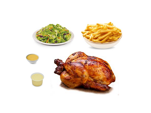 Pollo entero con papas fritas, ensaladas y salsas criollas