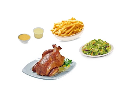 1/2 pollo con papas fritas, ensaladas y salsas criollas