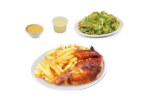 1/4 Pollo con papas fritas, ensaladas y salsas criollas