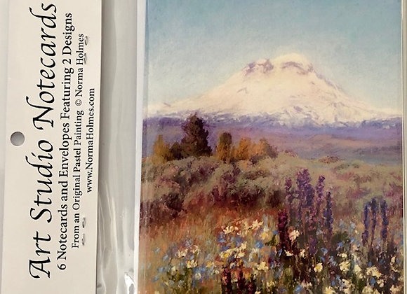 Art Studio Notecards by Local Artist Norma Holmes, 6 cards featuring 2 designs