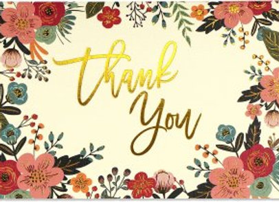 Boxed Thank You Cards Floral Frame 14 cards and 15 designer envelopes