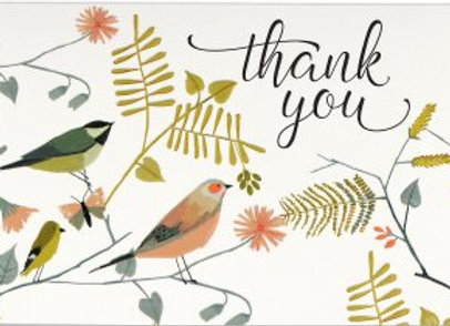 Boxed Thank You Cards Songbirds 14 cards and 15 designer envelopes