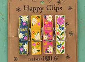 Set of 4 Wood Happy Clips