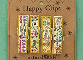 Set of 4 Wood Happy Clips