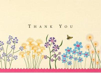 Boxed Thank You Cards Sparkly Garden 14 cards and 15 designer envelopes