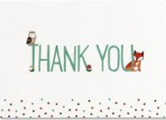 Boxed Thank You Cards Woodland Friends 14 cards and 15 designer envelopes