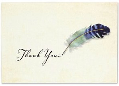 Boxed Thank You Cards Watercolor Quill 14 cards and 15 designer envelopes