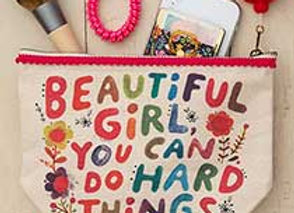 Canvas Pouch Beautiful Girl 9.5x6.5x3.25