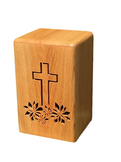CROSS WITH FLOWERS WOODEN BURIAL URN
