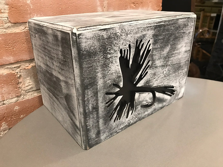 RUSTIC WHITE FLY BURIAL URN