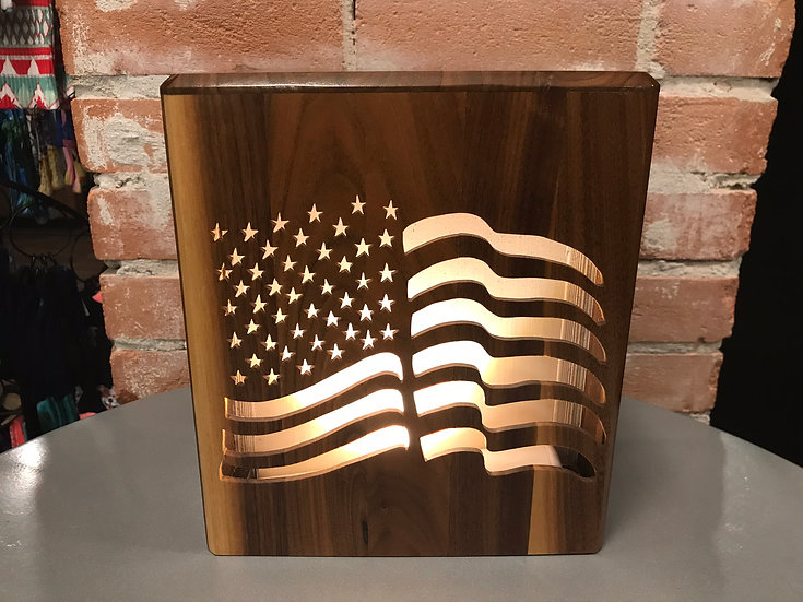 AMERICAN FLAG LIGHTED WOODEN BURIAL URN