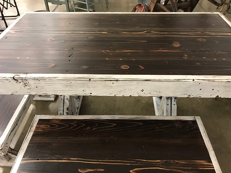 Walnut Dark Stain  Farmhouse Ranch Style Wooden Table-Free Shipping