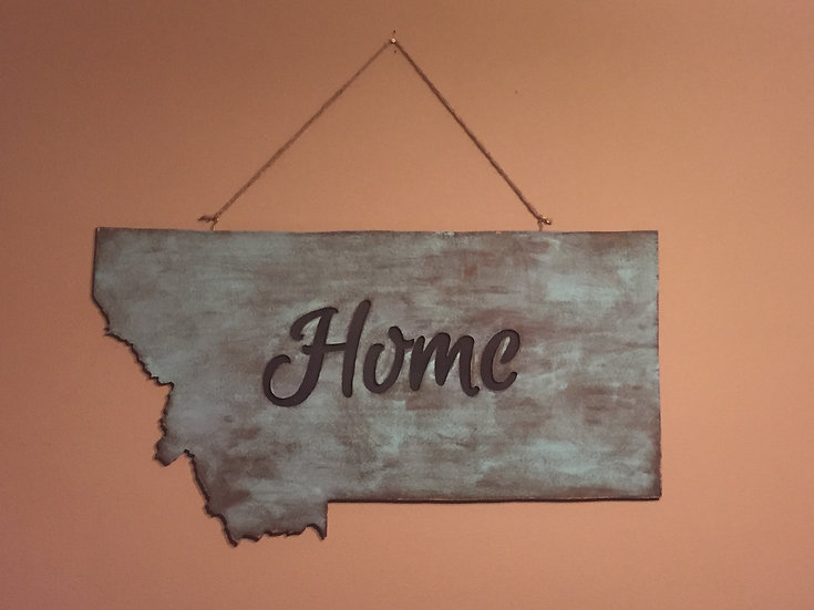 18X35 MONTANA HOME WOODEN WALL HANGING-STAIN-FREE SHIPPING
