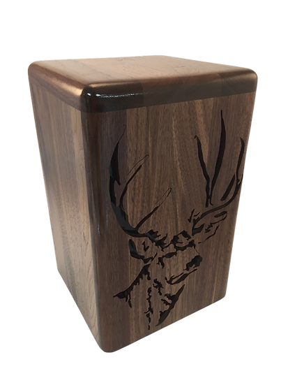 MULE DEER BUCK WOODEN BURIAL URN
