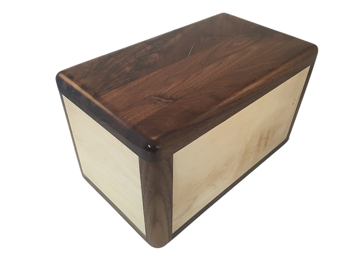 LEO WOODEN WALNUT WITH MAPLE INLAY BURIAL URN