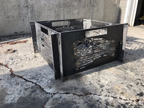 Large Portable Metal Fire Pit-Free Shipping-Tattered Flag Fire Pit-Heavy Meta