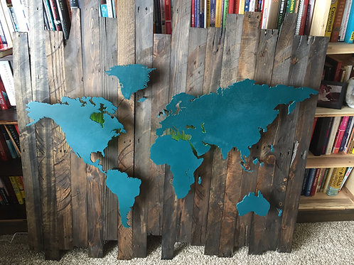 WOODEN LIGHTED WORLD MAP-COLORED LIGHTS