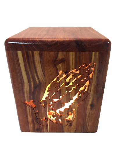 PRAYING HANDS LIGHTED WOODEN BURIAL URN