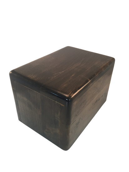 EBONY STAINED CHERRY WOODEN LEO BURIAL URN