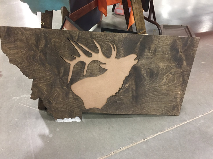 18X35 MONTANA ELK WOODEN WALL HANGING-STAIN-FREE SHIPPING