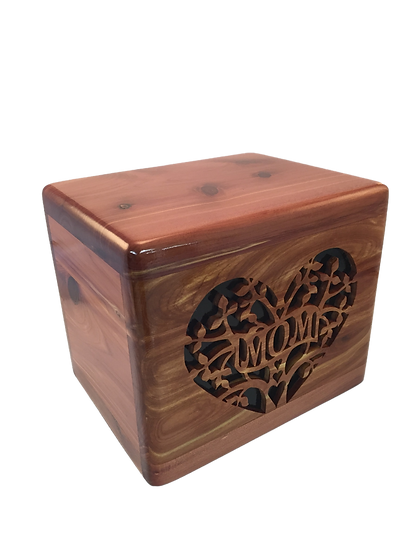 MOM FLOWERS RED CEDAR BURIAL URN
