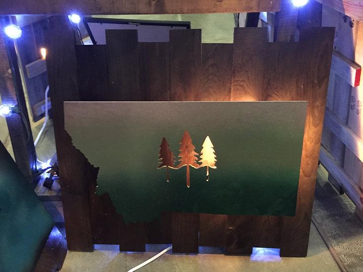 MONTANA 3 TREES LIGHTED-GREEN THEME