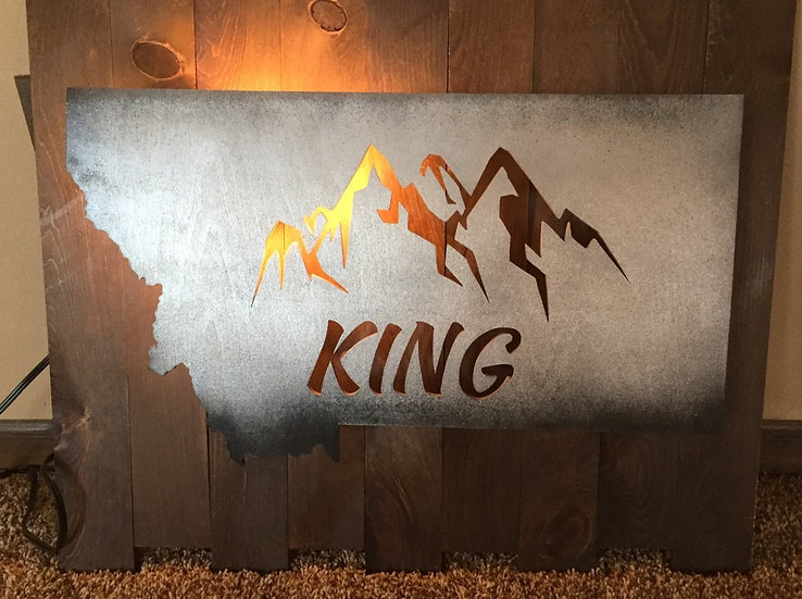 MONTANA MOUNTAINS LIGHTED-SUNRISE THEME CUSTOMIZED WITH NAME