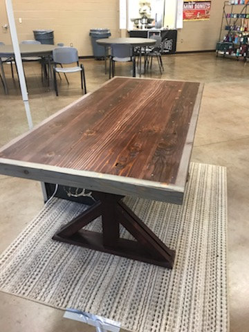 Cherry Stained Redwood Farmhouse Ranch Style Wooden Table-Free Shipping