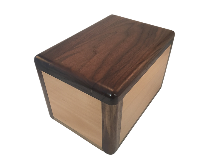 LEO WOODEN WALNUT WITH CHERRY INLAY BURIAL URN