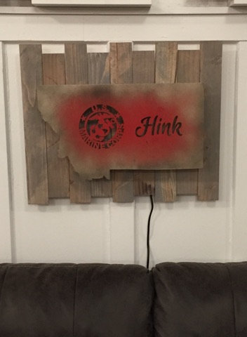 LIGHTED MONTANA MARINE W/CUSTOM LAST NAME WOODEN WALL DECOR