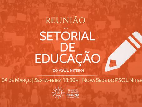 Setorial de Educação se reúne sexta (04) às 18:30h na nova sede