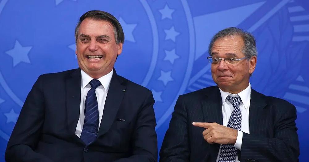 Presidente Bolsonaro e o banqueiro Paulo Guedes, Ministro da Economia