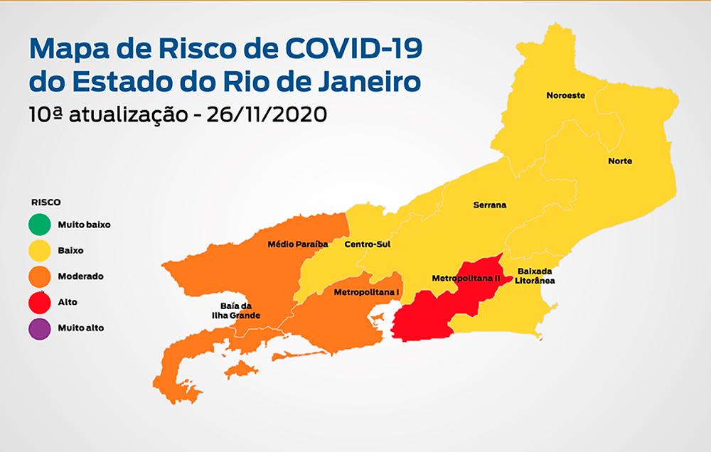 Mapa do estado do Rio de Janeiro indica a região de Niterói e São Gonçalo na cor vermelha, alto risco de contágio.