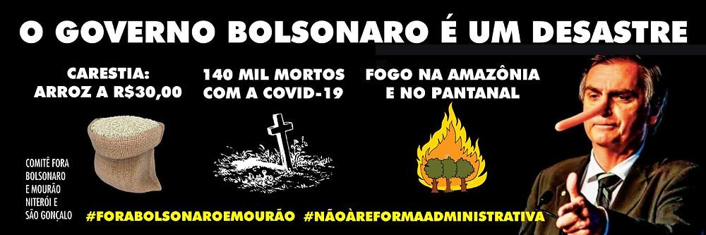 """Imagem de fundo preto com imagem do Bolsonaro com nariz de Pinóquio e o texto em branco: """"O governo Bolsonaro é um desastre"""". Seguido pelas imagens de um saco de arroz, de uma lápide mortuária e árvores pegando fogo com os dizeres: """"carestia - arroz a R$30,00; 140 mil mortos com a covid-19; fogo na Amazônia e no Pantanal""""."""