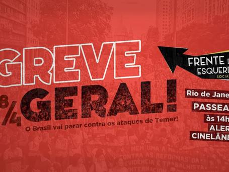 Greve Geral | Manifestação no Rio de Janeiro acontece às 14h na ALERJ