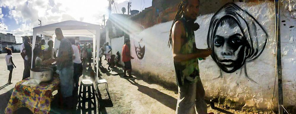 A feijoada rolou junto com o grafiti da Dandara
