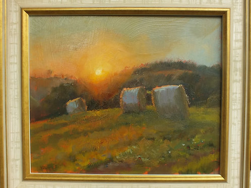 Sunset With Haybales