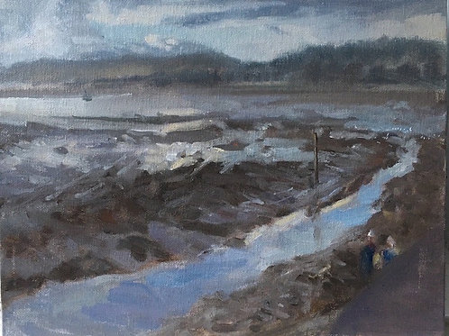 Low Tide and walkers, Lympstone, 30cm x 25cm