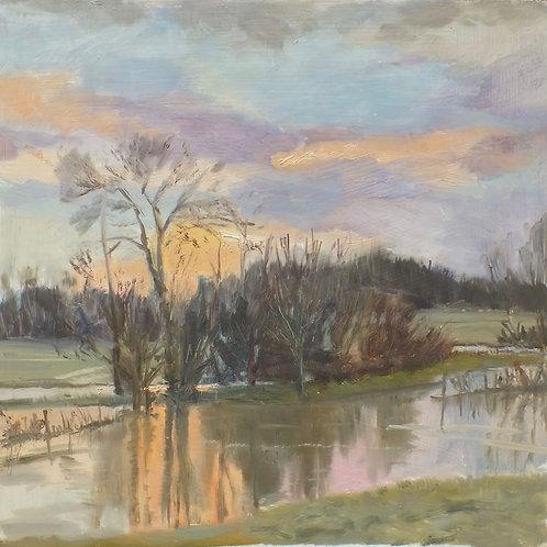 Winter sunrise over flooded fields 30cm x 30cm