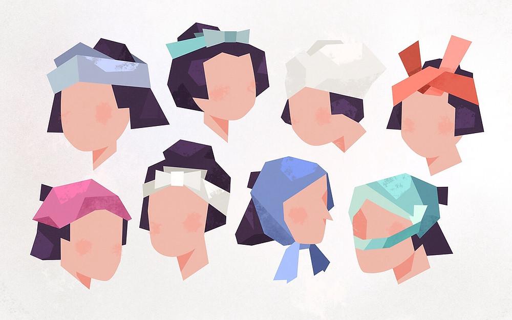 Japanese tenugui headwrap styles